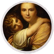 Portrait Of The Artists Wife And Daughter  Round Beach Towel