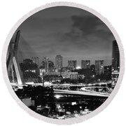 Sao Paulo Iconic Skyline - Cable-stayed Bridge - Ponte Estaiada Round Beach Towel