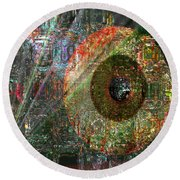 Round Beach Towel featuring the digital art  Savior Watching Over Me by Fania Simon