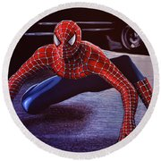 Spiderman 2  Round Beach Towel