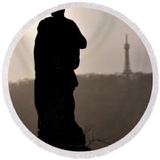 Statue And Petrin Tower Round Beach Towel