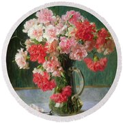 Still Life Of Carnations   Round Beach Towel by Emile Vernon