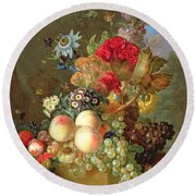 Still Life With Auriculus  Round Beach Towel by Gerrit Van Leeuwen