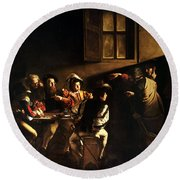 Round Beach Towel featuring the painting  The Calling Of Saint Matthew by Caravaggio
