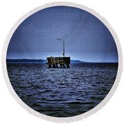 Round Beach Towel featuring the photograph  The Dock Of Loneliness by Jouko Lehto