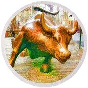 The Landmark Charging Bull In Lower Manhattan  Round Beach Towel