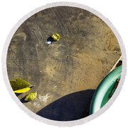 Round Beach Towel featuring the photograph  Three Is Family by Prakash Ghai