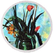 Tulips In A Vase Round Beach Towel