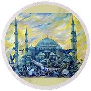 Turkey. Blue Mosque Round Beach Towel