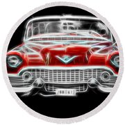 Vehicles Round Beach Towel featuring the photograph  Vintage Red Cadillac by Aaron Berg