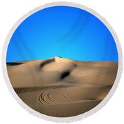 Yuma Dunes Number One Bright Blue And Tan Round Beach Towel