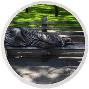 02 Homeless Jesus By Timothy P Schmalz Round Beach Towel