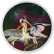 021916 Blue Heron's Dance Round Beach Towel