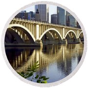 0333 3rd Avenue Bridge Minneapolis Round Beach Towel