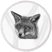 044 Vixie The Fox Round Beach Towel