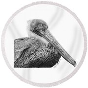 047 - Sinbad The Pelican Round Beach Towel