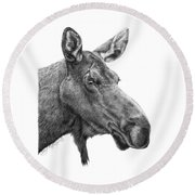 048 - Shelly The Moose Round Beach Towel