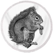058 Sweeney The Squirrel Round Beach Towel