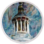 063 United States Capitol Dome Round Beach Towel by Maryam Mughal