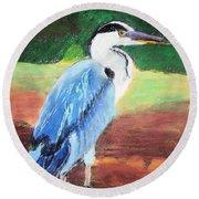 08282016 Female Blue Heron Round Beach Towel