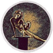 0953s-zac Casual Balance Black Dancer Graceful Strong In The Style Of Antonio Bravo Round Beach Towel
