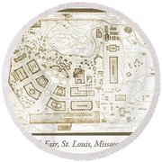 1904 Worlds Fair, Fair Grounds Map Round Beach Towel