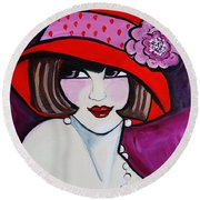 1920's Girl Ella Round Beach Towel by Nora Shepley
