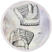 1945 Baseball Glove Patent Round Beach Towel