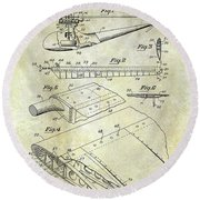 1949 Helicopter Patent Round Beach Towel