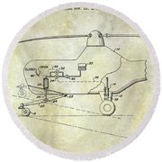 1953 Helicopter Patent Round Beach Towel