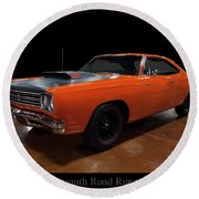 1969 Plymouth Road Runner A12 Round Beach Towel