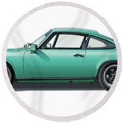 1976 Porsche Euro Carrera 2.7 Illustration Round Beach Towel