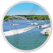 2017 Poker Run, Smith Mountain Lake, Virginia Round Beach Towel