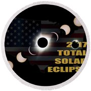 2017 Total Solar Eclipse Across America Round Beach Towel