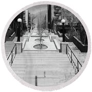 215th Street Stairs Round Beach Towel