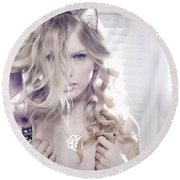 30119 Taylor Swift Taylor Swift Catgirl Round Beach Towel
