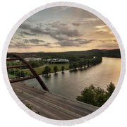 360 Bridge Sunset Round Beach Towel