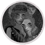 Round Beach Towel featuring the digital art 451 - To Lean On by Irmgard Schoendorf Welch