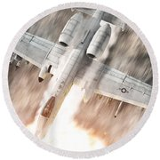 A-10 Thunderbolt II Round Beach Towel by David Collins