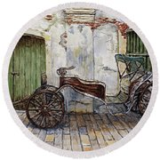 A Carriage On Crisologo Street 2 Round Beach Towel by Joey Agbayani