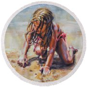 Beach Day Round Beach Towel by Tracy Male