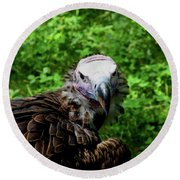 A Happy Vulture Round Beach Towel