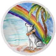 A Husky In Paradise Round Beach Towel