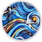 Round Beach Towel featuring the painting A Ray Of Hope 4 by Harsh Malik