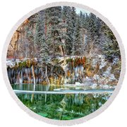 Olena Art Serene Chill Hanging Lake Photograph The Gem Of Glenwood Canyon Colorado Round Beach Towel