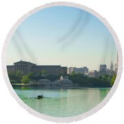 Round Beach Towel featuring the photograph A Spring Morning In Philadelphia by Bill Cannon