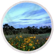 A Summer's Evening Breeze Round Beach Towel