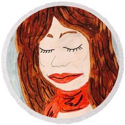A Young Woman  Round Beach Towel