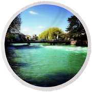 Round Beach Towel featuring the photograph Aare River by Mimulux patricia no No