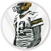 Aaron Rodgers Green Bay Packers Pixel Art 5 Round Beach Towel by Joe Hamilton